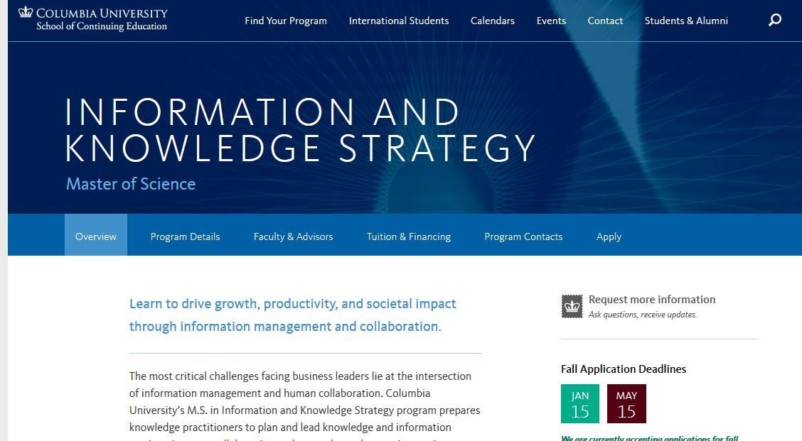 Columbia University, Master of Science Information and Knowledge Strategy