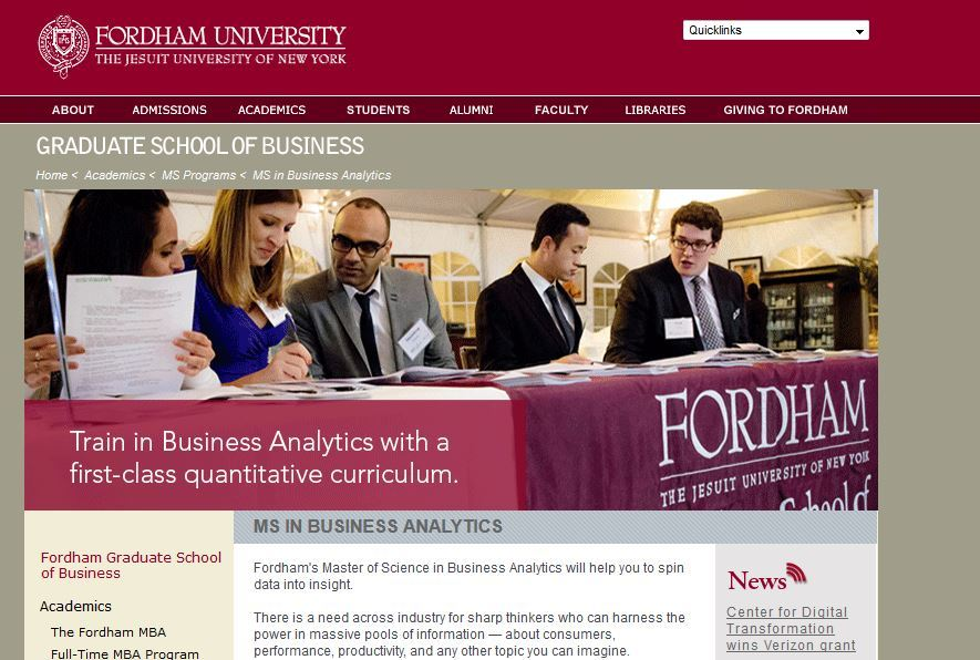 Fordham University, Master of Science Business Analytics