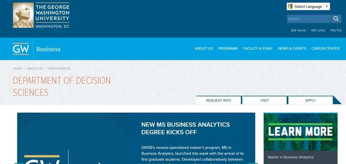 George Washington University, MS Business Analytics