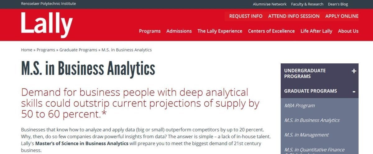 Lally School of Management,M.S. in Business Analytics