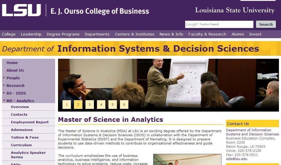 Louisiana State University, Master of Science in Analytics