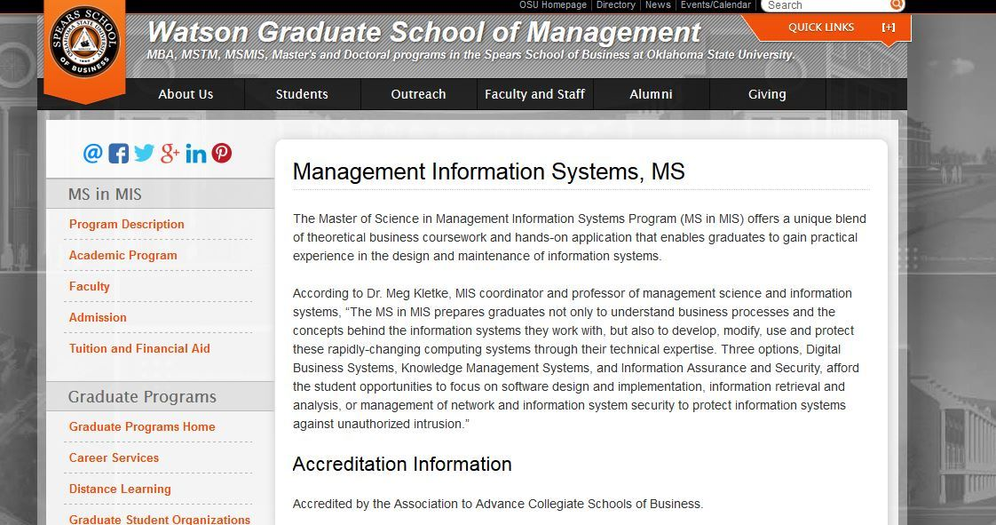 Oklahoma State University, M.S. Management Information Systems