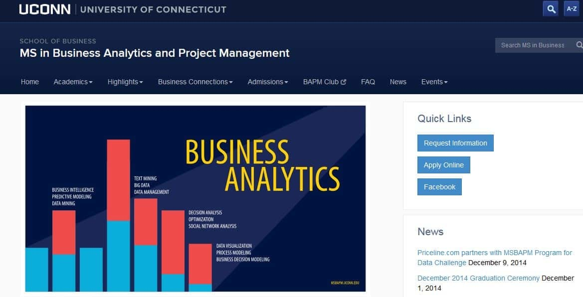 University of Connecticut, MS Business Analytics and Project Management