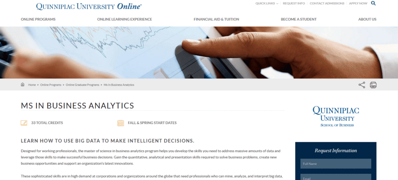 online and part time business analytics and data science programs quinnipiac