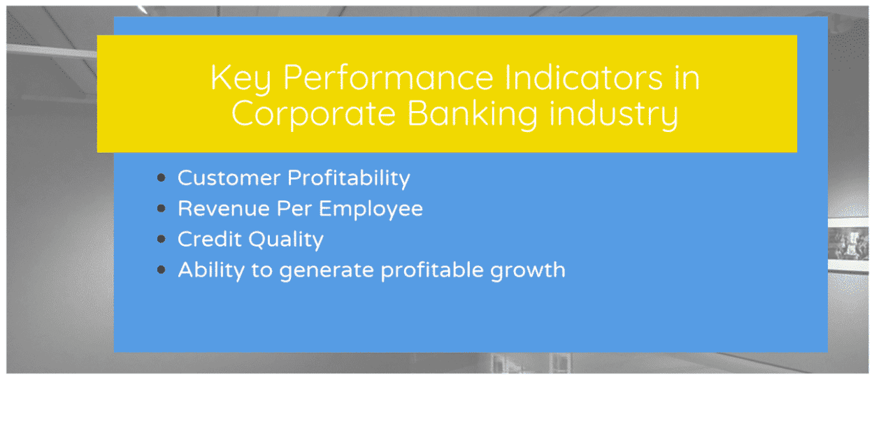 What are the Key Performance Indicators in Corporate Banking industry